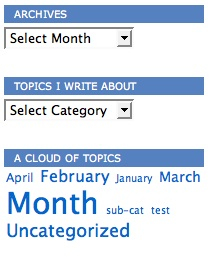 Drop down archives and categories with tag cloud