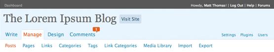 WordPress 2.5 Navigation