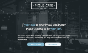 homepage of pique theme for wordpress.com