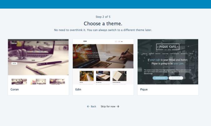 WordPress.com site setup step 2