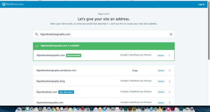 WordPress.com site setup step 3