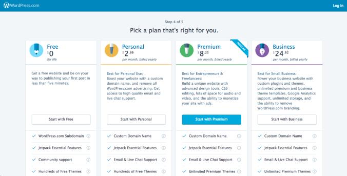 WordPress.com site setup step 4
