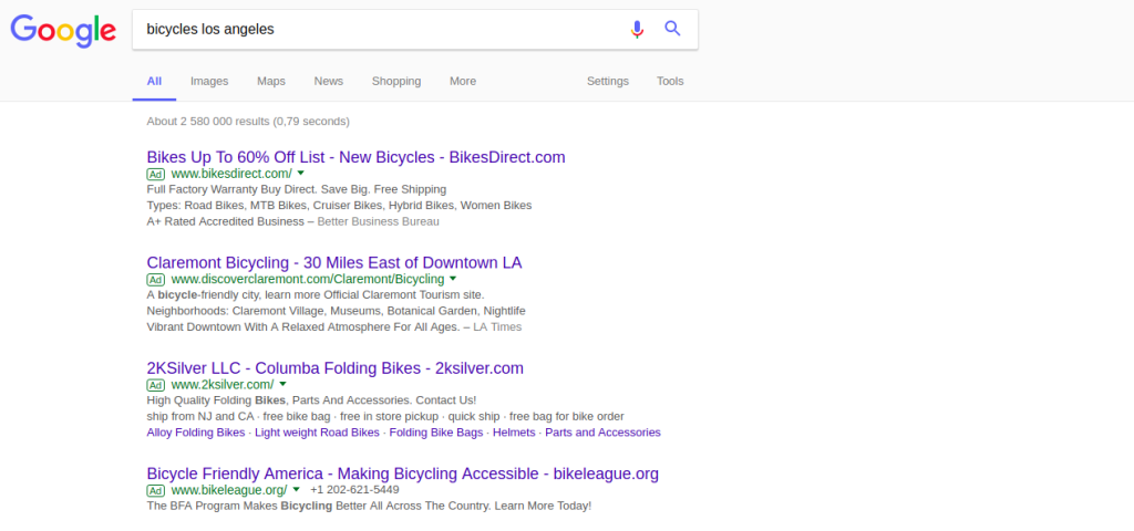 example of adwords ads on google search