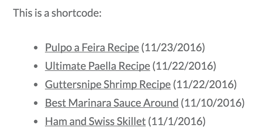 WordPress.com shortcode example with date