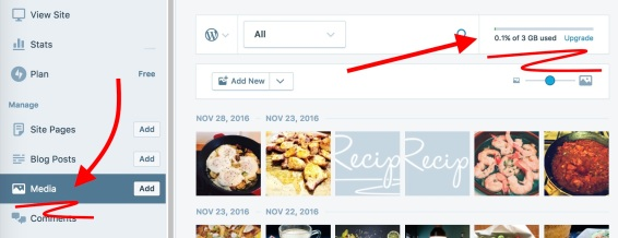 Your WordPress.com Storage is displayed on the top right of your Media page