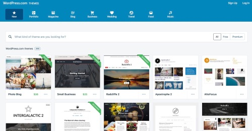 A selection of WordPress.com themes