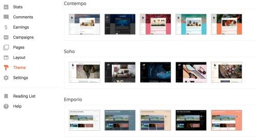 Blogger.com website themes