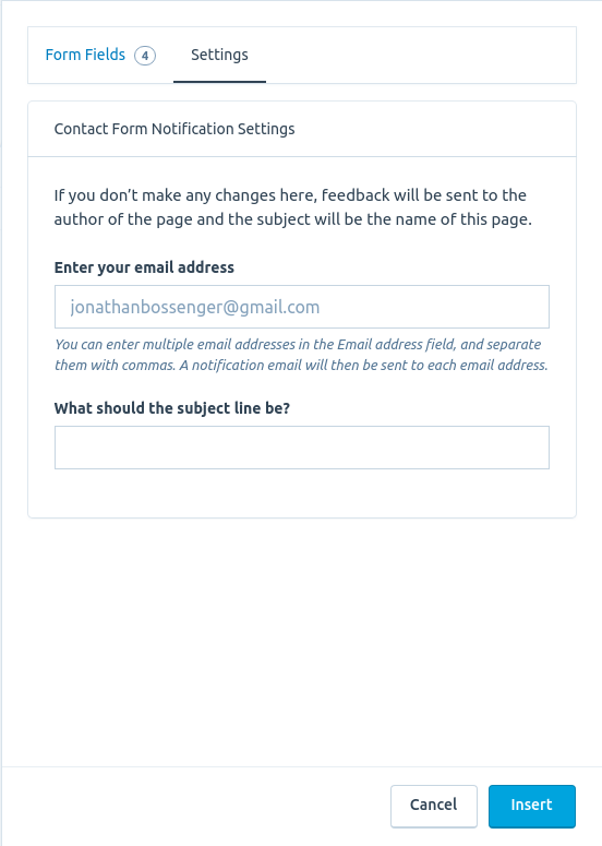 Change the settings for your contact form
