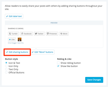 Changing sharing settings on WordPress.com