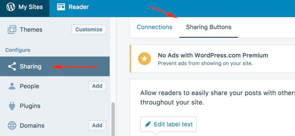 Enabling sharing buttons on WordPress.com