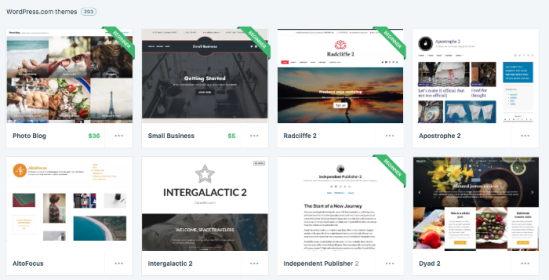 Various WordPress.com themes