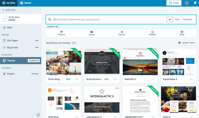 Choosing a WordPress.com theme