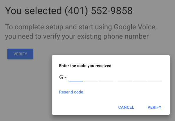 Verifying your phone number with Google Voice