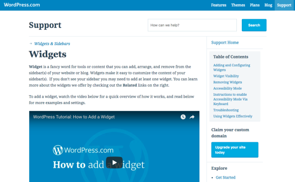 A WordPress sidebar