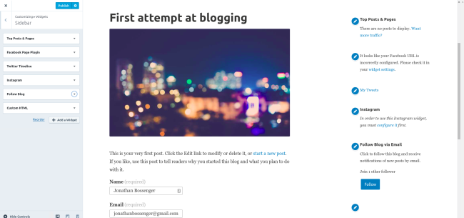 Setting up widgets on a WordPress.com website