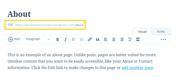 Where the slug appears on WordPress.com