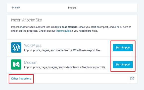 Choose where to import your content from