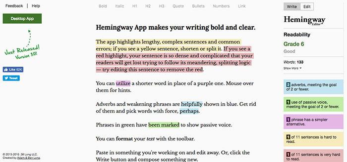 Online writing tool Hemingway App