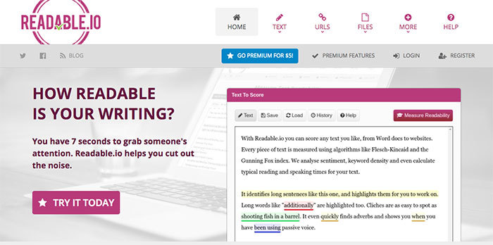 Online writing tool Readable