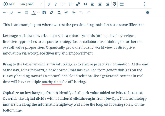 WordPress.com's online writing tool for proofreading