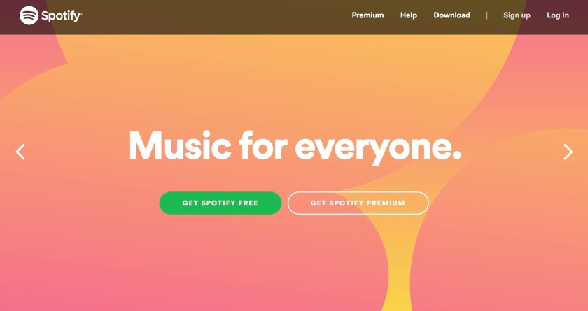 The website homepage of Spotify