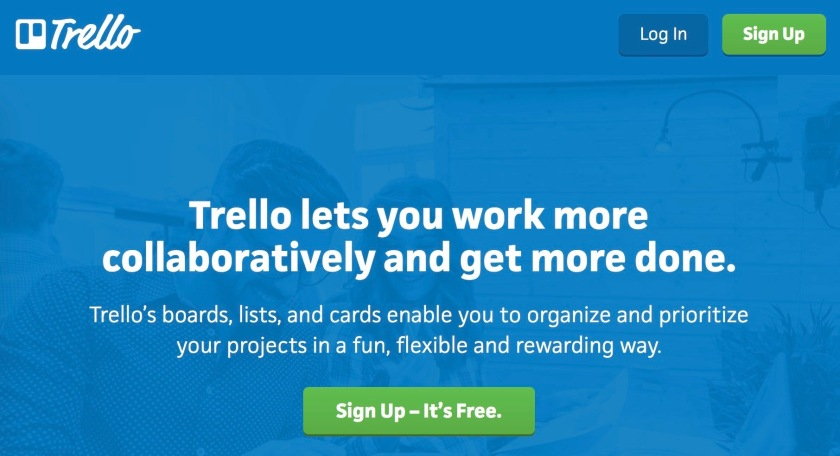 The website homepage of Trello