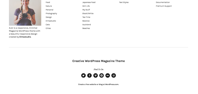A sample footer on a WordPress.com theme