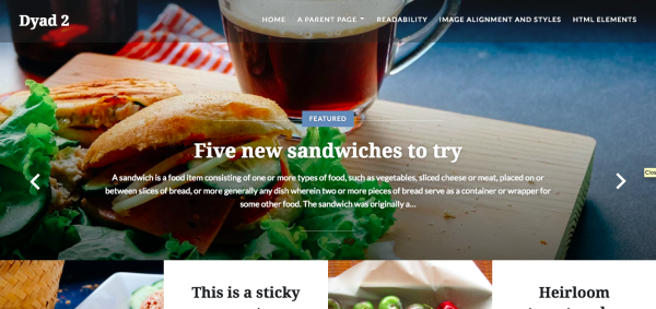 A sample header image on a WordPress.com website