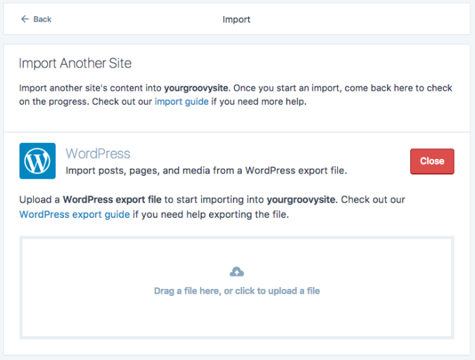 Use the WordPress importer to import to WordPress.com