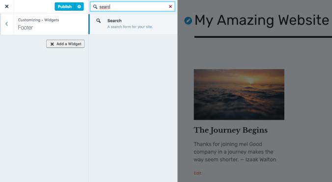 Add a Search widget