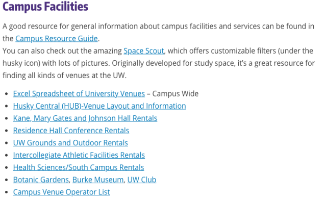 University of Washington website