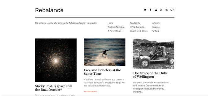 The Rebalance theme uses symmetrical balance, a grid layout, and plenty of white space