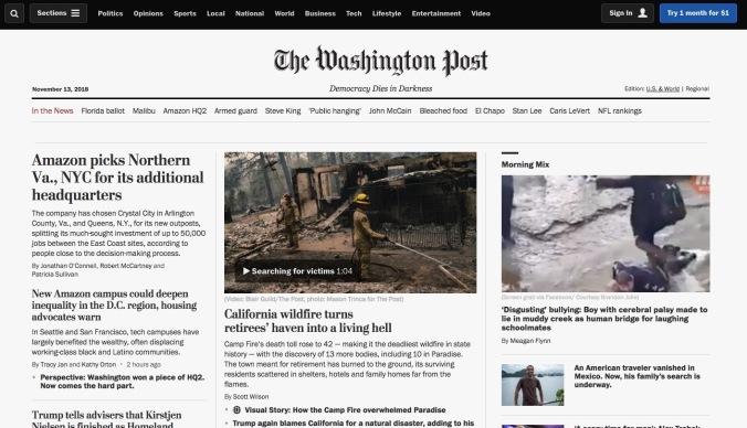 The Washington Post website