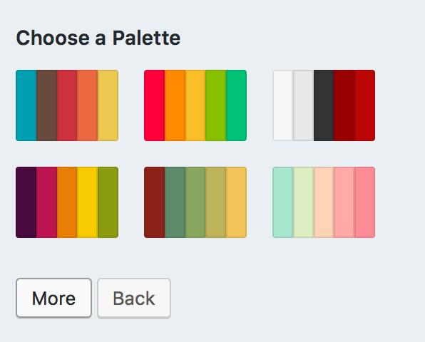 WordPress.com built-in color palettes