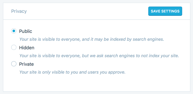 WordPress.com Privacy Settings