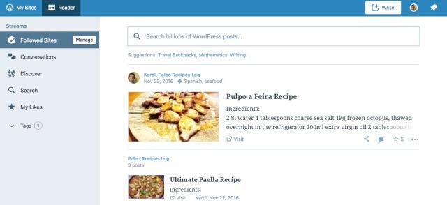 Navigate WordPress.com homepage