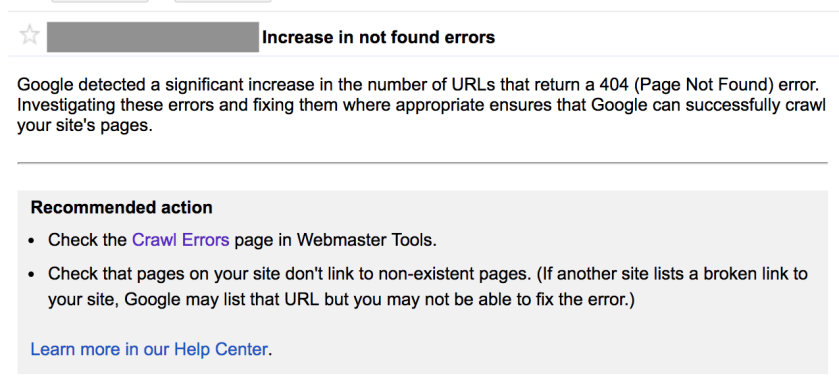 Screenshot of Google Search Console crawl error message