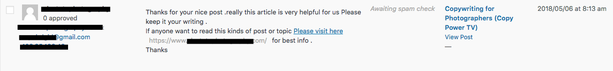 spam comment in wordpress