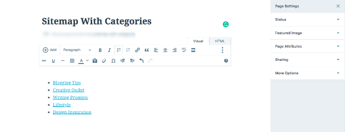 Adding a sitemap using categories