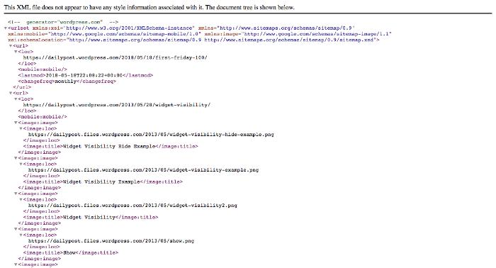 Sitemap in XML format