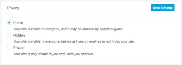 WordPress.com website privacy settings