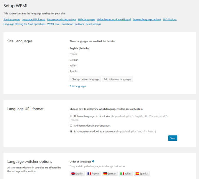 WPML Setup Page from https://wpml.org/features/
