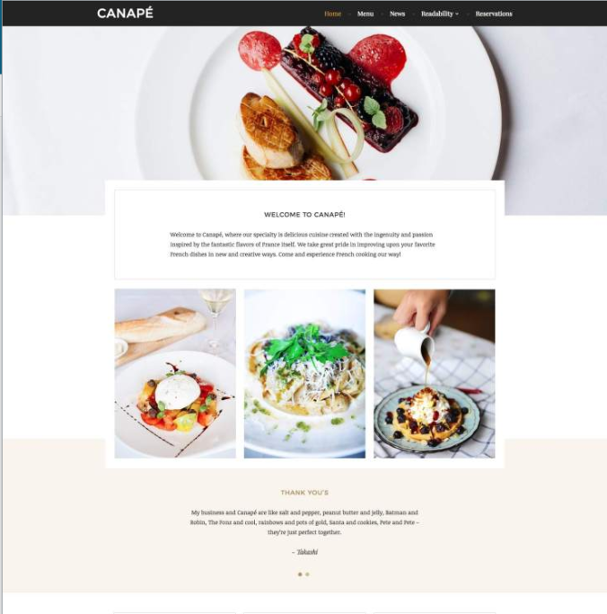 WordPress.com Restaurant Theme Example