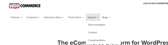 Navigation Bar from WooCommerce
