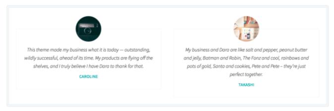 WordPress.com testimonial example