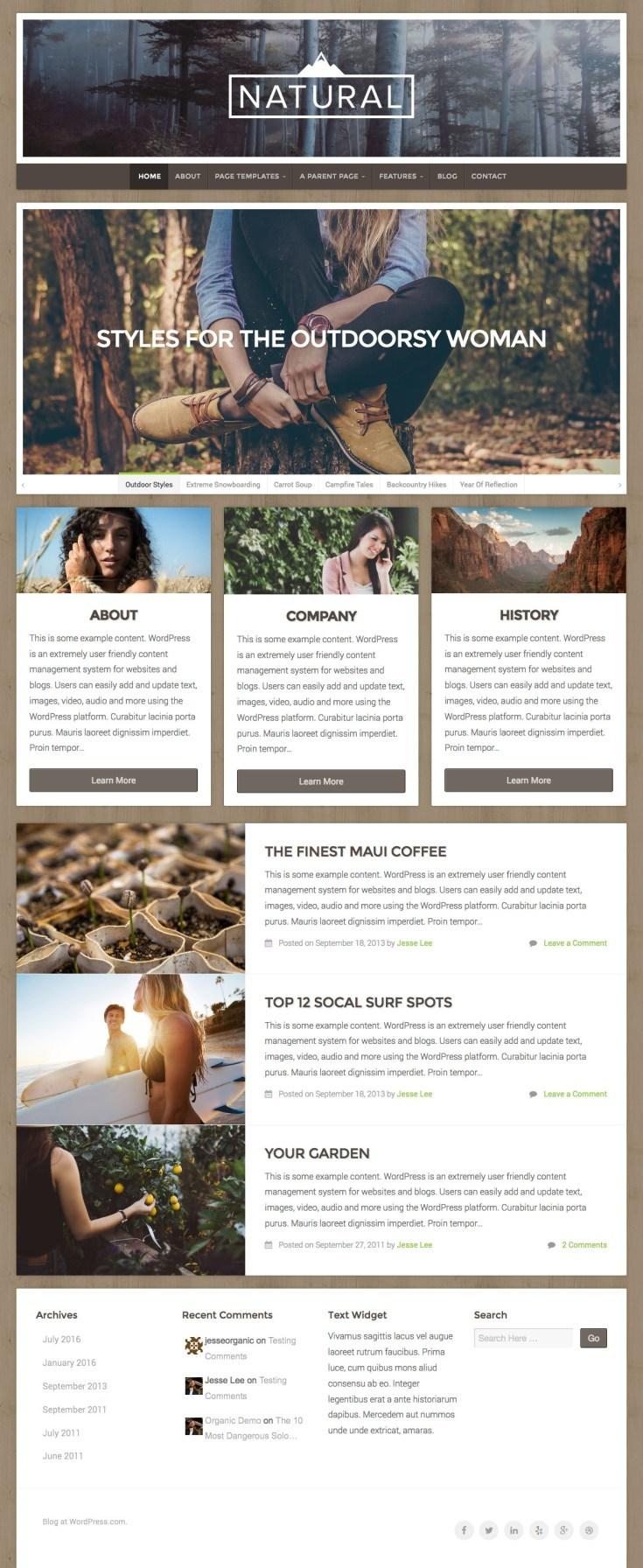 WordPress.com Natural theme