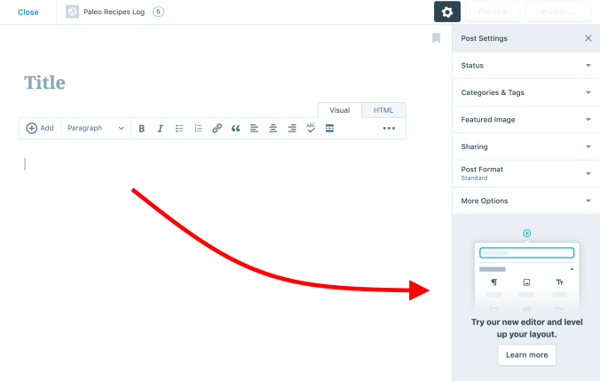 Invite button to try out new WordPress Editor
