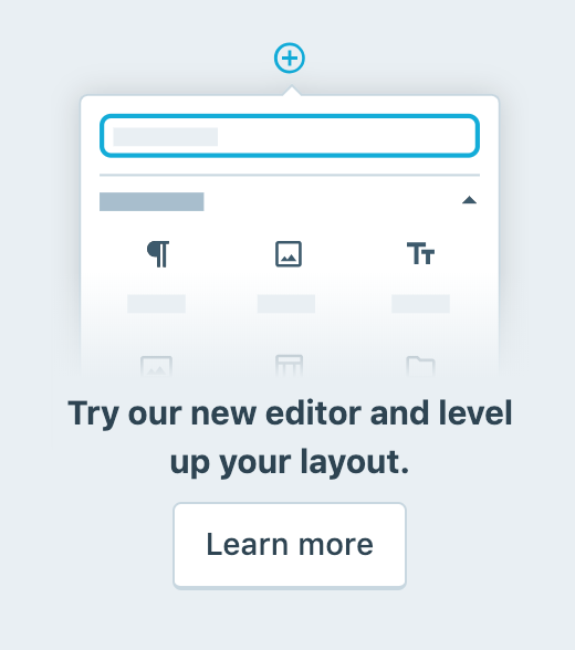 Close-up of invite button to try out new WordPress Editor