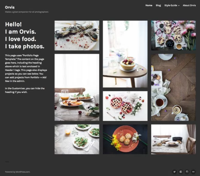 Screen capture of Orvis theme