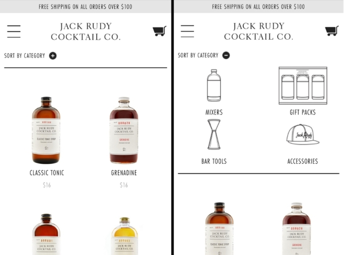 Jack Rudy Cocktail Company mobile shop page